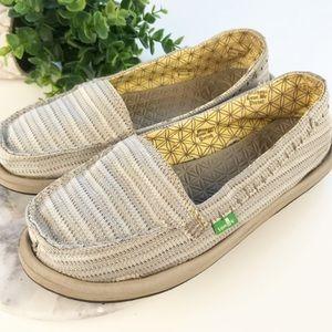 Sanuk Gray/beige Rasta Slip On Loafer